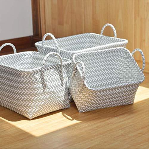 (JISGUEES Hand-Plait Rectangle Dirty Clothes Laundry Basket Plastic Rattan Sundries Organizer Storage Basket with Handle Large Capacity 3 S 28x18x22cm)
