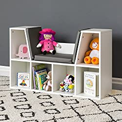 Best Choice Products Multi-Purpose 6-Cubby Kids Bedroom Storage Organizer Bookcase w/Cushioned Reading Nook - White