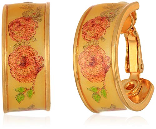 (1928 Jewelry Women's Gold-Tone Yellow Floral Clip Hoop Earrings, Gold, One Size, gold)