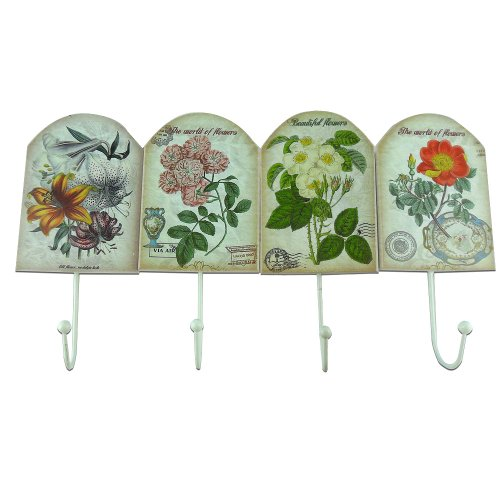 GardeningWill Vintage Garden Style Iron Hook Hand-painted Wooden Hook High Quality Home Decoration