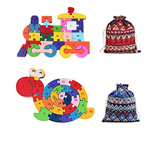 (HIPGCC Train Jigsaw Puzzle, Alphabets & Numbers Winding Train & Snail Jigsaw Puzzle - Preschool Learning Educational Toy Set Gifts Toy for Kids 3 4 5 6 + Years Old Toddlers Boys Girls)