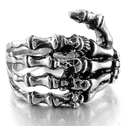 Aooaz Stainless Steel Ring For Men Punk Skull Hand Bone Black Silver Mens Band Retro Vintage Biker US 8 (Halloween Band Aid Cookies)