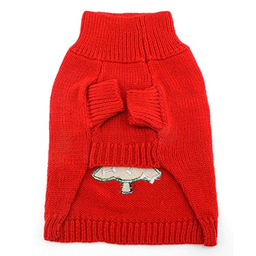 SMALLLEE_LUCKY_STORE Pet Cat Small Dog Sweater Christmas Tree, Red, Medium