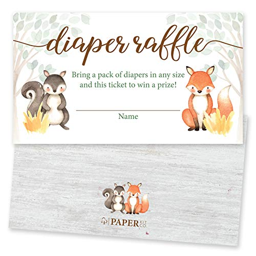 Paper Kit Co. Woodland Creature Baby Shower Diaper Raffle Tickets (50 Pack) Gender Neutral for Girl or Boy - Bring a Pack of Diapers to Win a Prize - Fits Perfectly with Matching Woodland Invitations ()