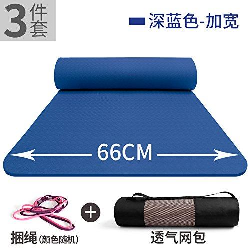 YOOMAT TPE Mat Anfänger Yoga-Matte breite Starke Erweiterung und dreiteilig verrutschsicheren Mat Yoga Fitness, 8Mm (Starter), die Farbe des Dunkelblau 3-Piece Set158206