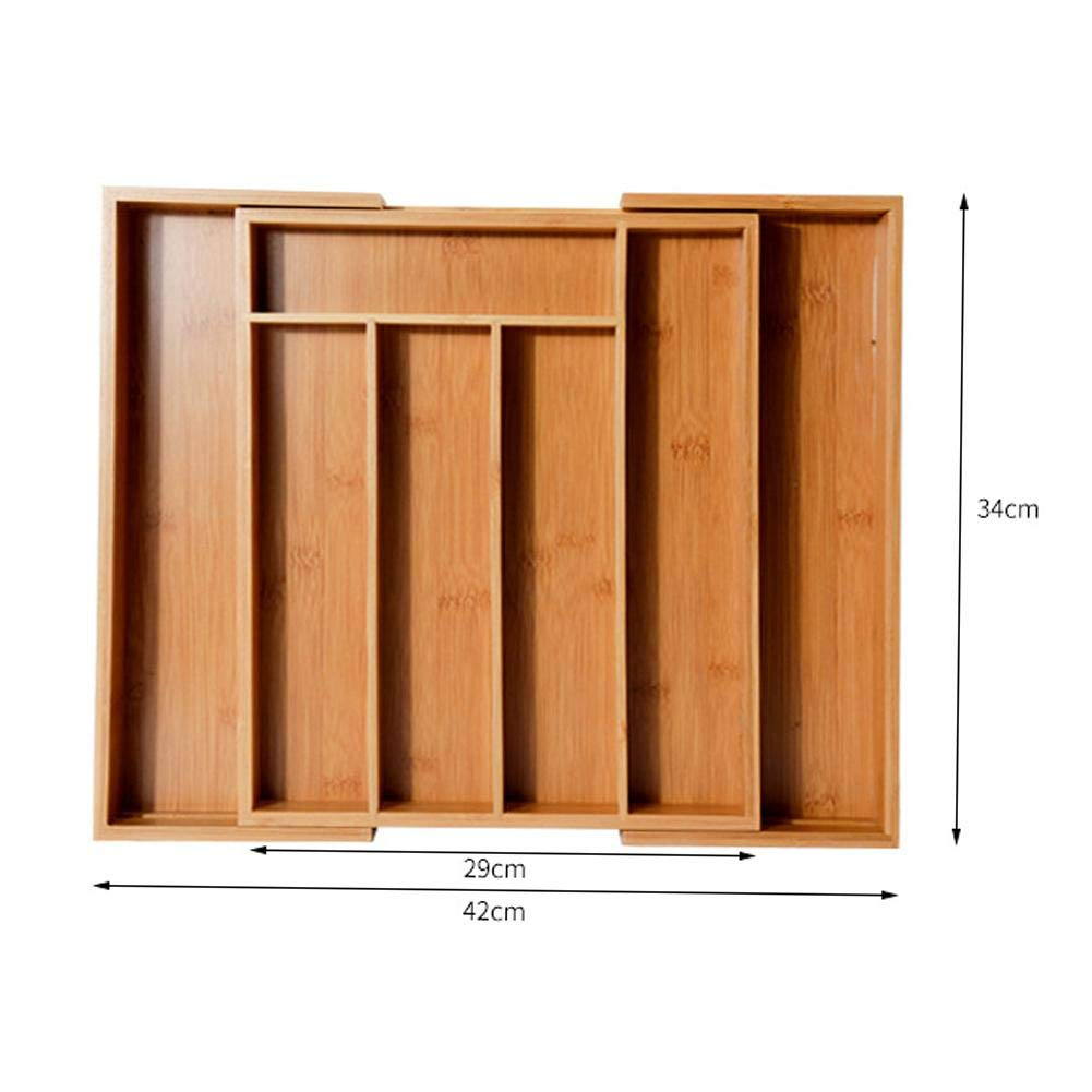 Besteckkasten aus Bambus variabel ausziehbar Schubladeneinsatz Sch/öne Premium Qualit/ät Besteckeins/ätze K/üchenorganizer