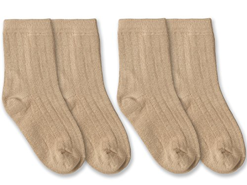 Jefferies Socks Boys Classic Rib Crew Dress Socks 2 Pair Pack (Toddler - USA Shoe 3-7 - Age 1-2 Years, Khaki) (Rib Toddler)