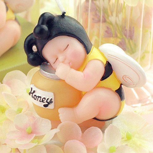 Sweet(™) Adorable Mini Bee Baby Honey Jar Birthday Candle Cake Topper Baby Shower Favors (In Gift Box) Party Decoration Christmas Gift