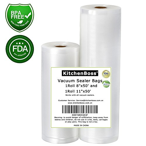 "Vacuum Sealer Rolls 2 Pack 8""x50' and 11""x50' KitchenBoss Commercial Grade Bag Rolls for Food Saver and Sous Vide, BPA Free and FDA Approval (100 feet)"