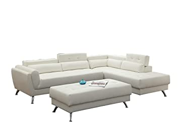 Outstanding Poundex Bobkona Jolie Bonded Leather 3Piece Sectional Set With Extra Large Ottoman In White Inzonedesignstudio Interior Chair Design Inzonedesignstudiocom