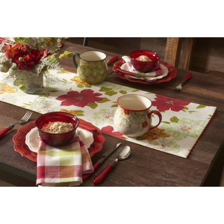 Pioneer Woman Watercolor Poinsettia Table Runner