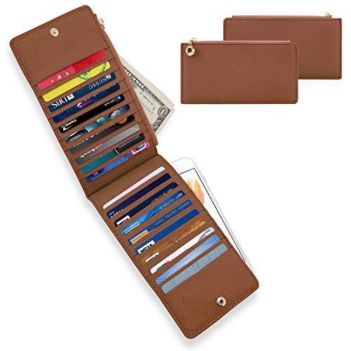 Women Genuine Leather Wallet RFID Blocking Credit Card Holder Handbag Bi-fold Organizer Purse with Zipper Pocket-Brown