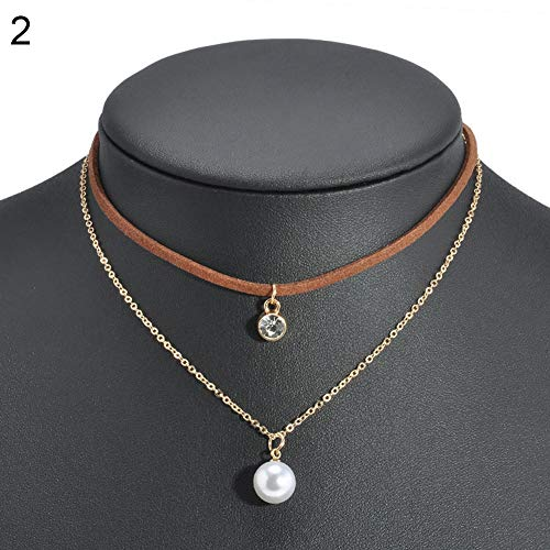 Imitation Pearl Brown (Necklace Opeof Gothic Double Layers Alloy Velvet Choker Rhinestone Imitation Pearl Necklace - Brown)