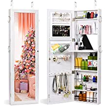 TWING Jewelry Armoire Cabinet Wall Door Mounted Jewelry Armoire with Full-Length Mirror Lockable Large Jewelry Organizer(White) (Renewed)