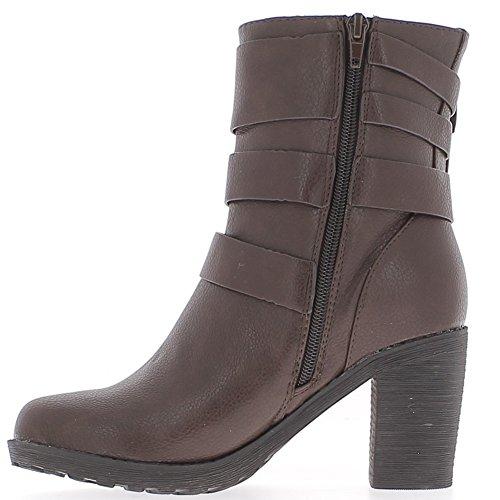 Stivali marroni foderato con i talloni di spessi di 8cm con 3 morsetti serra grande