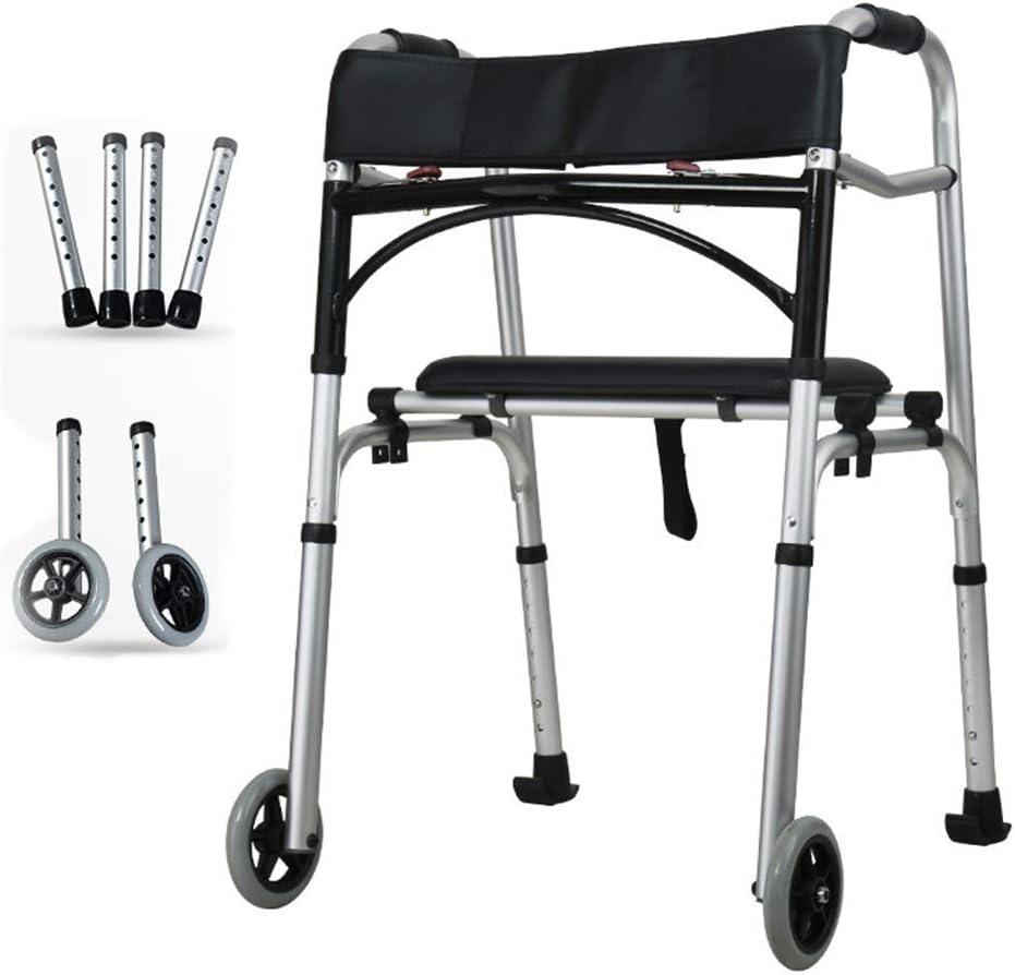 Bastón, muletas, andador plegable compacto, andador para ancianos discapacitados Equipo de rehabilitación de hemiplejía plegable ligero de aleación de aluminio, con ruedas de 5 'y 4 patas plegables,