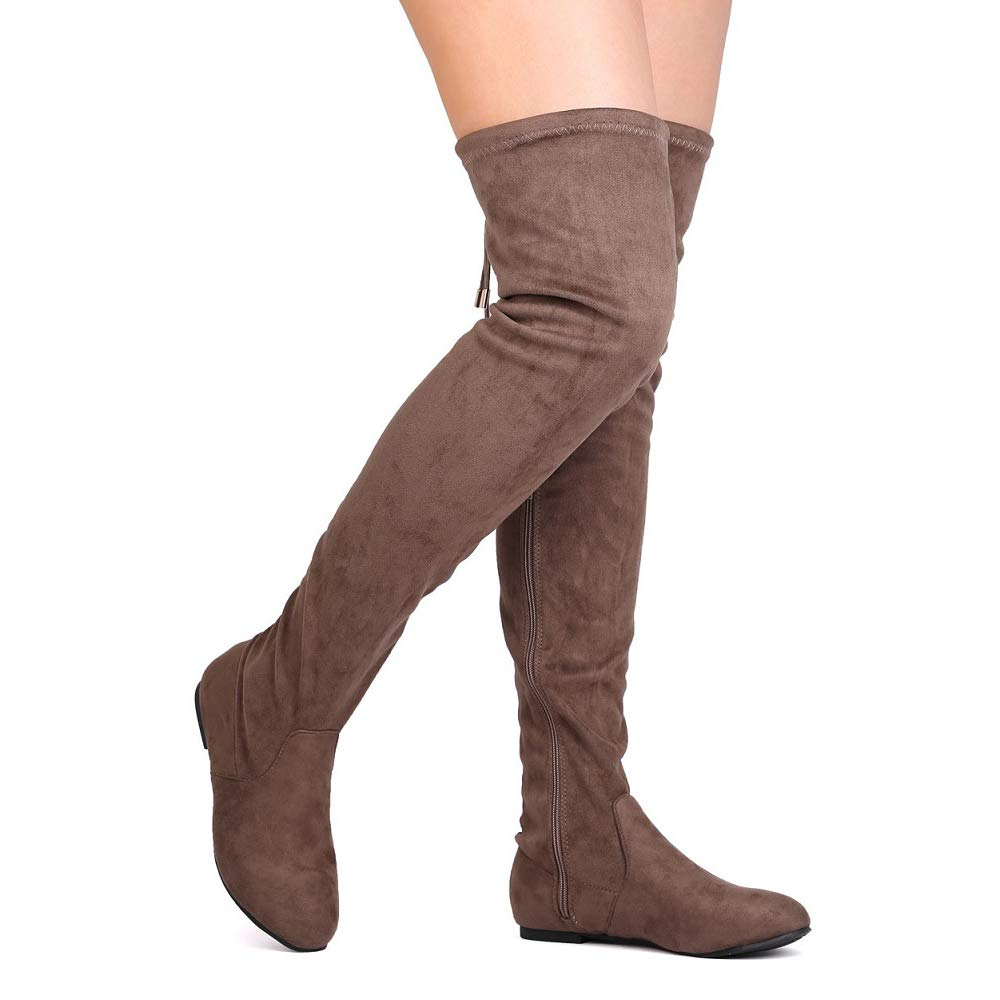 ShoBeautiful Women's Thigh High Flat Boots Stretchy Drawstring Tie Fashion Suede Over The Knee Boots Taupe 7