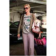 Charlize Theron 8 inch x 10 inch PHOTOGRAPH Young Adult (2011) Tiny White Dog in Purse kn