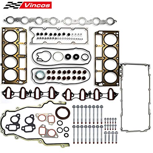 - Vincos MLS Full Cylinder Engine Gasket Set w/Head bolts Compatible with chevy silverado tahoe gmc sierra 1500 yukon envoy buick trailblazer 4.8L 5.3L V8