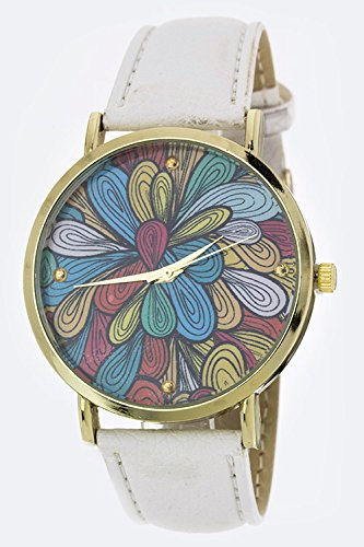 Karmas Canvas Contemporary Art Crystal Watch (White)