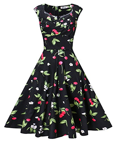 (VOGVOG Women's 1950s Retro Vintage Cap Sleeve Party Swing Dress, Floral Black, Large)