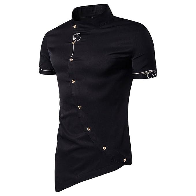 Camiseta para Hombre,RETUROM Camisa de Botones de los Hombres Ocasionales Camisa de Cuello de los Hombres de Mandarín Camisas de Esmoquin: Amazon.es: Ropa y ...