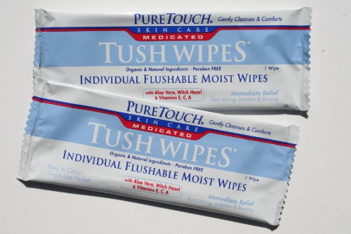 - PureTouch MEDICATED Tush Wipes for adults Individual Flushable Moist Wipes BULK 350 Single-Use-Packets