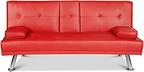 Recaceik Futon Faux Leather Convertible Folding Sofa Bed Couch with 2 Cup Holders and Armrest Metal Leg Design for Living Room, Home Furniture Red