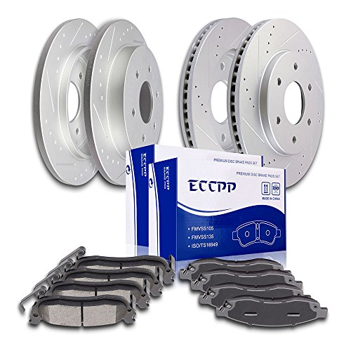 (Brake Rotors Pads Kits,ECCPP Front Rear Slotted Drilled Brake Rotors and Ceramic Disc Pads Brakes Kit for 2004 2005 Infiniti QX56 2005 Nissan Armada 2004 2005 Nissan Titan)
