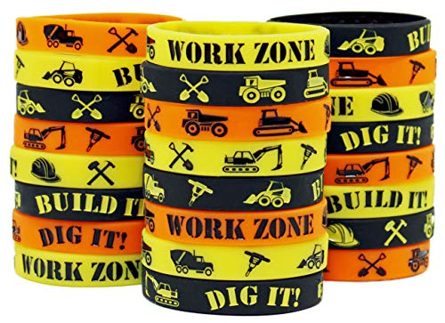 Construction Party Supplies - Construction Themed Silicone Wristbands - Construction Zone Party Favors (Orange, Yellow & Black 24) -