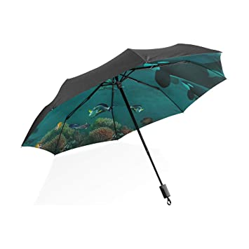 4f1daf392006 Amazon.com: Fantasy Seabed Whale Travel Umbrella Windproof,Anti UV ...
