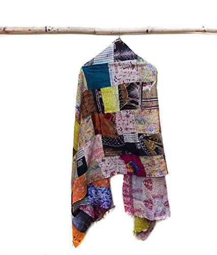 Silk Kantha Scarf Neck Wrap Stole patchwork Hand Quilted Women Bandana headband