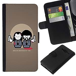 KLONGSHOP // Tirón de la caja Cartera de cuero con ranuras para tarjetas - Bad Ass Movie Quote ficción Traje Armas Arte - Samsung Galaxy Core Prime //