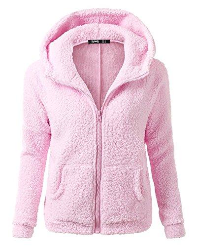 Cappotto Giacca Col Dei Caldo Maglione Pink Cappuccio Manica Lunga Donna Cerniera Felpe Hoodies RSanq