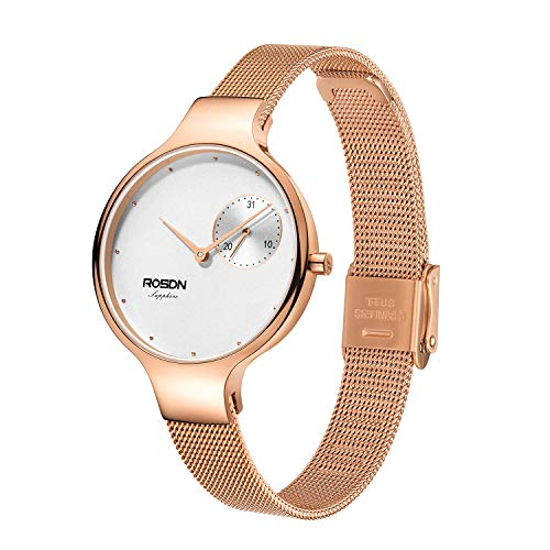 ROSDN Women's Wrist Watches, Analog Quartz, Mesh Band, Waterproof | Casual Fashion Ladies Dress Bracelet Watch, Rose Gold