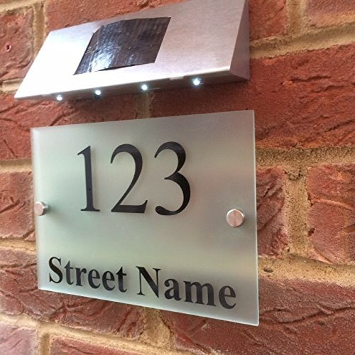 MODERN HOUSE SIGN DOOR NUMBER PLAQUE STREET NAME WITH SOLAR LIGHT Signs4home