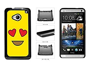 Bright Yellow Heart Eyes Smiley Face Plastic Phone Case Back Cover HTC One M7