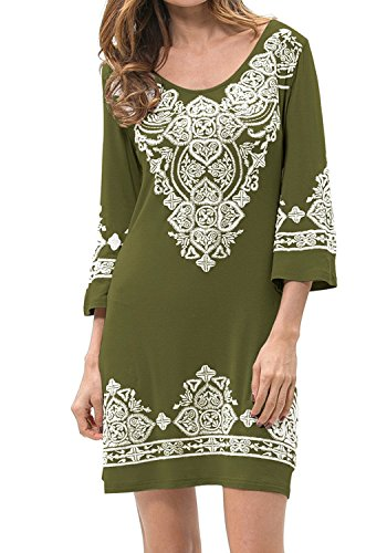 Levaca Womens Dress 3/4 Sleeve Heart Printing Slim Fit Casual Dress Green M