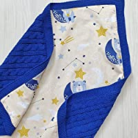 Bears on the moon knit blanket Navy blue baby swaddle blanket Personalized baby blanket Space theme nursery bedding Custom newborn blanket