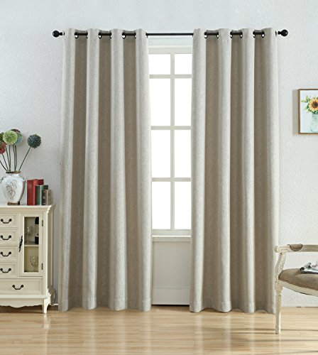 Kotile Weave texture Faux Linen Treatment Thermal Insulated Grommet Top Blackout Curtains for Bedroom 2 Panels sets ( 52 by 84 inch, Natural ) (Texture Set)