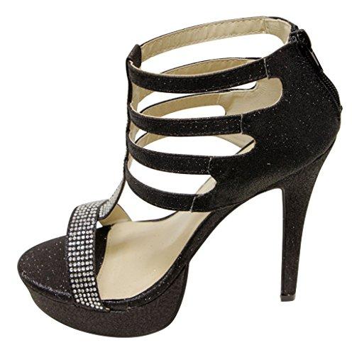 strap high 81 dorsay Atrevida heel T platform glitter toe Womens open closure Black zip strappy sandals Ailie bead 55qrzZFP