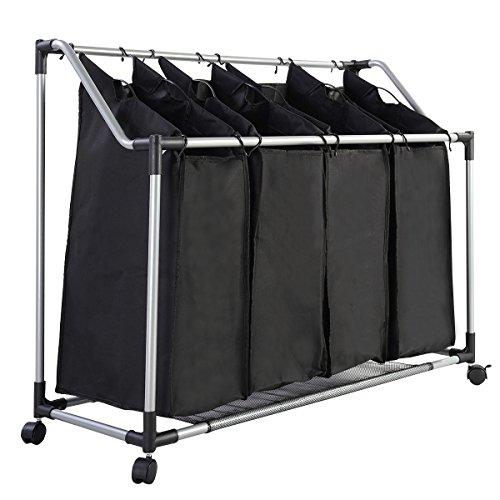 Wäschekorb 4 Fächer Wäschewagen Wäschebox Wäschesammler Wäschesortierer in Schwarz