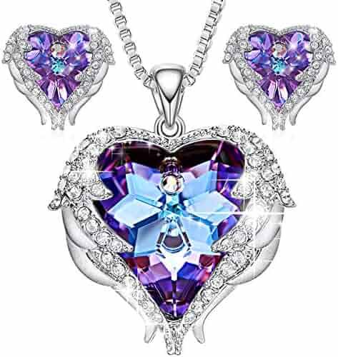 CDE Jewelry Set for Women Angel Wing Swarovski Crystal Pendant Necklace Heart of Ocean Stud Earrings for Girls Mom