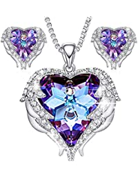 Jewelry Set for Women Angel Wing Swarovski Crystal Pendant Necklace Heart of Ocean Stud Earrings for Girls Mom