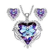Angel Wing Swarovski Jewelry Set Women Jewelry 18K White Gold Plated Crystals Heart Pendant...
