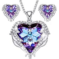 CDE Jewelry Set for Women Angel Wing Swarovski Crystal Pendant Necklace Heart of Ocean Stud...