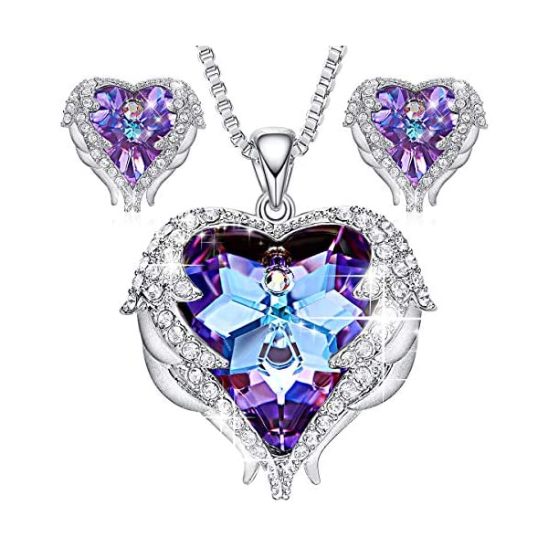 1e3537747 CDE Jewelry Set for Women Angel Wing Swarovski Crystal Pendant Necklace  Heart of Ocean Stud Earrings for Girls Mom – Yami Vidal