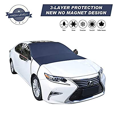 "Cypropid Car Windshield Snow Cover, 3-Layer Protection and Double Side Design, Keep Snow & Ice Off, No More Scratch Paint, Windshield Sun Shade Protection, Extra Large Fit Most Car, Van, SUV?81""x 59""?"