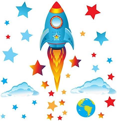 Vinyle Amovible Brillant Medium Blue Rocket GET STICKING D/ÉCOR/® Lespace Stickers Muraux// Fus/ées Autocollants Collection Big Blue Rock.20 Multicolore.