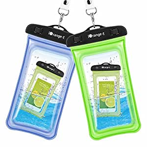 Waterproof Case, 2 Pack iOrange-E Clear Universal Waterproof Cell Phone Case, Transparent Dry Bag, Pouch, Snowproof Dirtproof for iPhone 6S Plus 5S, Samsung Galaxy S7 S6 edge, Note 5 4 - Blue, Green